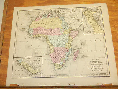 1876 Mitchell Antique COLOR Map  ///  AFRICA