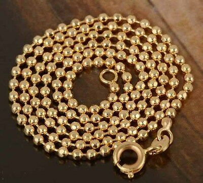 """Shiny 9K Gold Filled Beaded Chain Necklace 17.7"""",K098"""