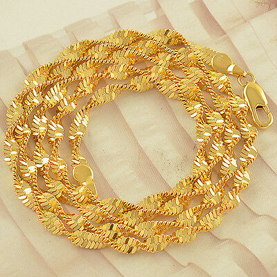 """Long Water Wave 24"""" 9K Yellow Gold Filled Necklace,F2453"""