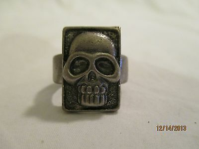 "Skull Ring Silvertone Metal 15/16"" Outside diameter 13/16"" Inside diameter"