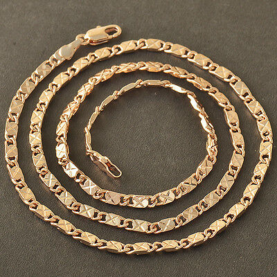 "Classic 9K CC Rose Gold Filled Mens/Unisex Chain Necklace,22""X3MM,Z4072"