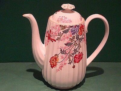 SPODE PINK FLORAL CHELSEA GARDEN COFFEE POT with LID