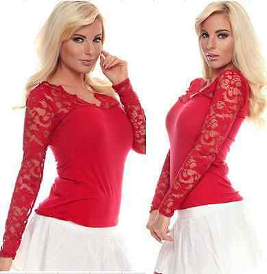 Plus Cotton Lace soft Long sleeve V-Neck Women's Sexy Top Blouse D427red L free