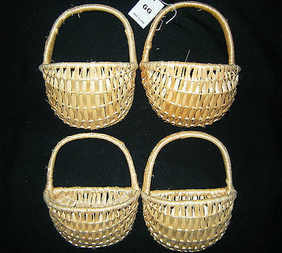 "LOT OF 4 WOVEN STRAW HANGING HALF BASKETS WICKER STYLE 7""L x 5""W x 3-1/4""D NWT"