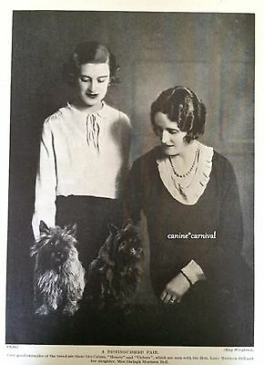 Two CAIRN TERRIER DOGS  with 2 Women   VINTAGE Dog ART Print 1934