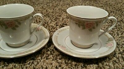 Pair of Lynns fine china teacups & saucers