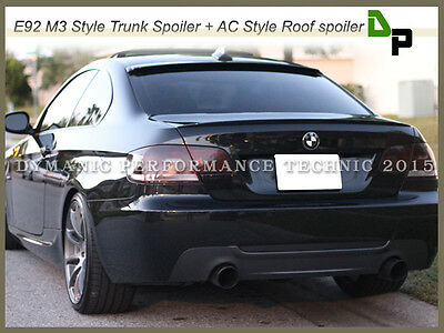 #668 Jet Black Color Trunk Spoiler & Roof Spoiler For BMW E92 3-Series 2Dr 07-13