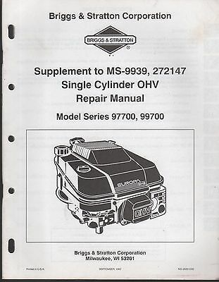 BRIGGS & STRATTON SINGLE CYLINDER OHV SERVICE MANUAL MODELS 97700 & 99700 (801)