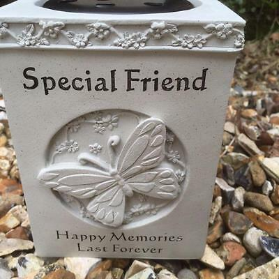 New Graveside Memorial GRAVE VASE Flower Rose Bowl with Butterfly SPECIAL FRIEND