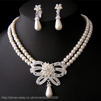 Wedding/Bridal pearl &crystal necklace earring set S097