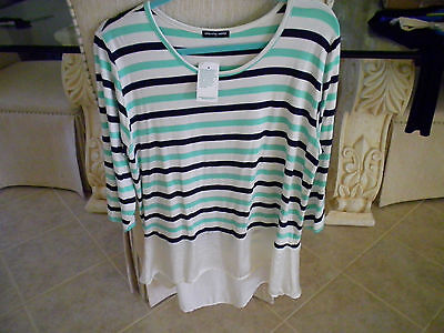womens tunic top with ruffle bottom new with tags 1x  MADE IN THE USA