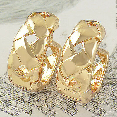 Free Shipping,Exquisite Solid Gold Filled Womens Huggie Hoop Earrings,Z2546