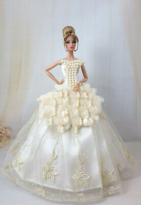 Fashion Royalty White Sequin Wedding Dress/gowns FOR Silkstone Barbie b028