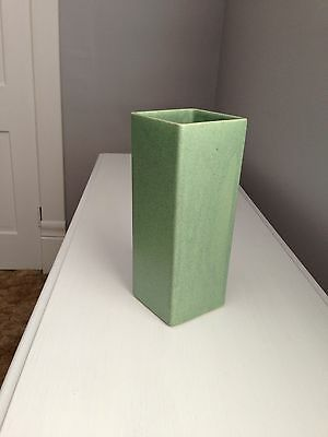 Floraline tall square pottery sage green vase