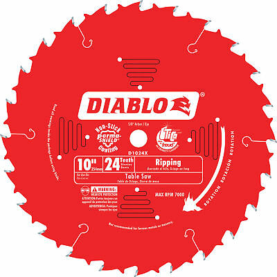 Diablo Ripping Circular Saw Blade 10in 24 Tooth For Rip Cuts in Wood Plywood OSB