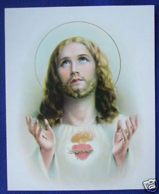 "Catholic Print Picture Sacred Heart of Jesus art by Simeone 8x10"" ready to frame"