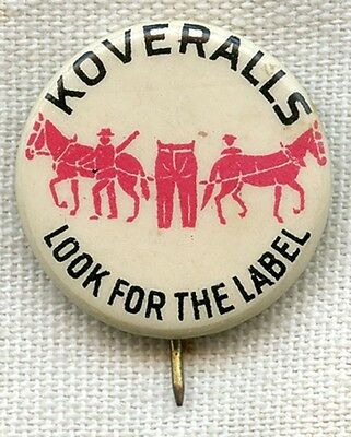 1910s Levi Strauss & Co. Denim Koveralls for Kids Advertising Celluloid Pin