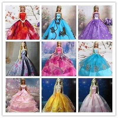 15 Items=5Pcs Handmade Princess Party Dresses&Clothes 10Shoes For Barbie doll!