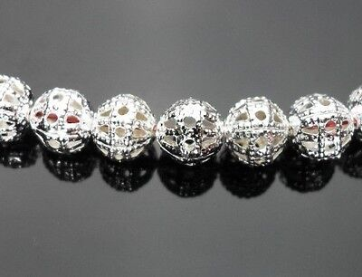 F&S 200pcs silvery white Metal Hollow out ball beads Jewelry Findings 4mm H71