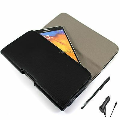 For Sony Black Faux Leather Horizontal Pouch Belt Clip Stylus Pen Car Charger