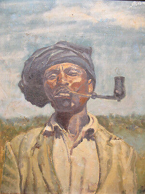 Mid 1900 African Man Smoking Pipe Blackamoor Portrait Oil Painting SIGNED yqz