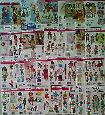 """New Simplicity Patterns American made for 18"""" Girl Doll Clothes (pick a pattern)"""