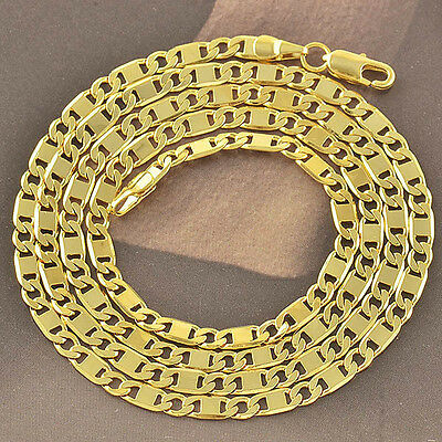 24 inches 9K Yellow Gold Filled Mens/Womens Flat Necklace,free shipping F3747