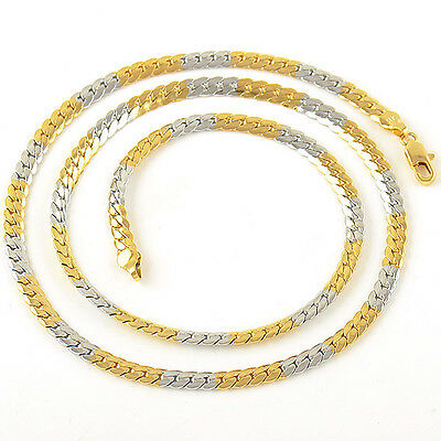 Cool 9K Gold Filled 2-Tone Mens Snake Chain Necklace,24 Inches,Z1931