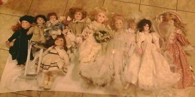 Lot/Group 10 Porcelain Dolls some old some perfect some new some hurt. Just look