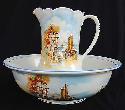 T. Lawrence Falcon Ware England circa 1930's Pitcher and Basin with Dutch scene