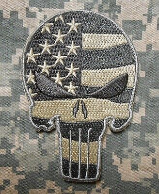 Punisher Skull Usa Waving Flag Army Morale Tactical Badge Acu Light Hook Patch