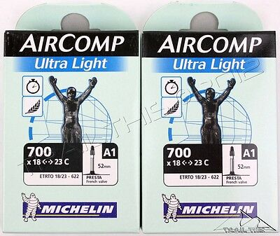 2 x Michelin AirComp Ultra-Light Road Bicycle Tubes 700x18/23 Presta Valve 52mm