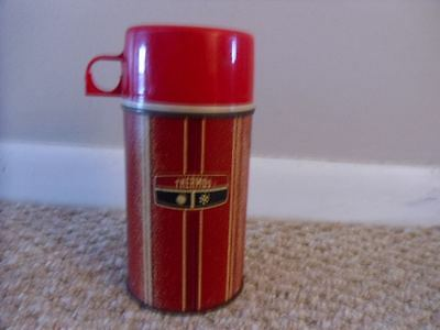 Vintage Metal  Lunchbox Thermos Striped Red