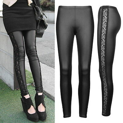 Fashion Style Tights Women Sexy Wet Look Shiny Lace Faux Leather Leggings FE