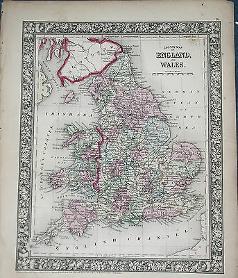 Origial 1860 S Augustus Mitchell Map of England & Wales 12.5 X 15.25