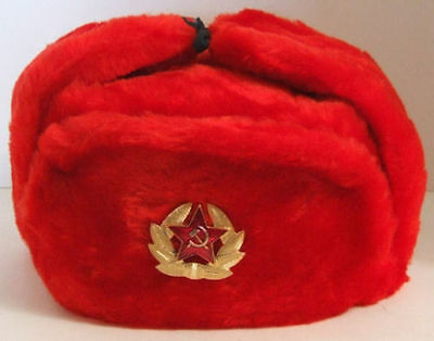 RUSSIAN MILITARY ARMY COSSACK KGB USSR SOLDIER MENS WOMENS USHANKA HAT RED