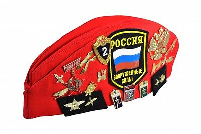 RED Soviet Russian army Pilotka Military Forage Cap Hat & Original USSR Badges
