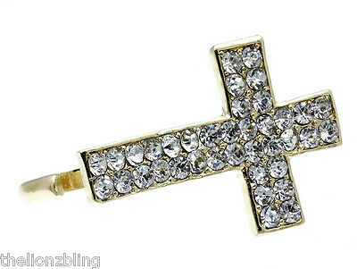 Urban Hip Hop Fashion 2-Finger Gold Cross Ring with Clear Crystal Bling
