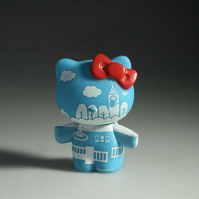 Hello Kitty Plastic Action Figure Blue with White Scenery Pattern & a Red Bow