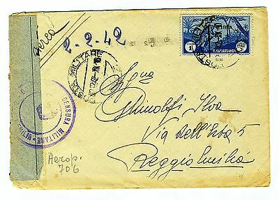 ITALY LIBIA  1942 cover st. air mail  canc. POSTA MILITARE N.3  to Italy