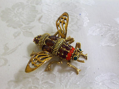 Joan Rivers Large Queen Bee Brooch / Pin With Faux Crystal & Enamel