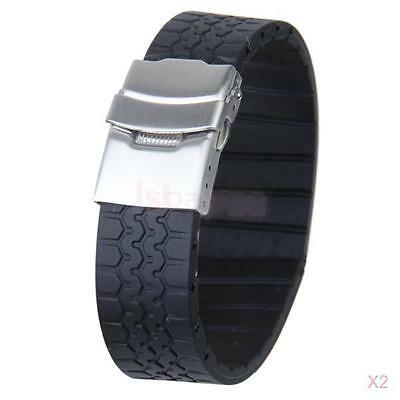 2x 20MM Men's Tire Grain Silicone Rubber Watch Band Strap Replacement Waterproof