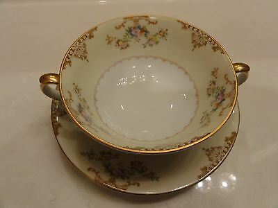 2 Sets Vintage Meito Aristocrat China Hand Painted Bouillon Consomme Cream Soups