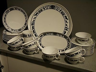 Langenthal Swiss Porcelain Coffee & Cake Service For 8 Silhouette Cut Out Naive