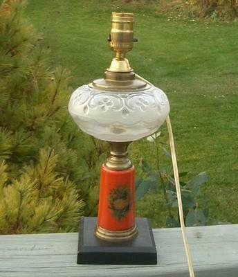 VINTAGE ANTIQUE 1800's EAPG SATIN GLASS PILLAR PARLOR OIL LAMP or ELECTRIC LIGHT