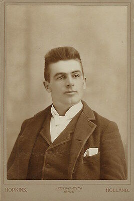 PORTRAIT OF A HANDSOME YOUNG MAN IN HOLLAND, MICHIGAN (CABINET CARD)