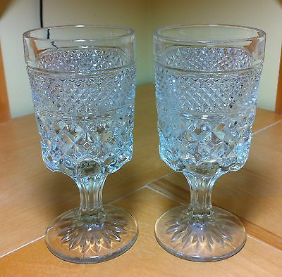Set of 2 Anchor Hocking Wexford Clear Glass Water Goblets