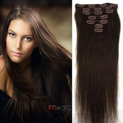 """Women's Real Remy Clip In Human Hair Extensions 70g #2 Dark Brown 7pcs 15"""" Hot"""