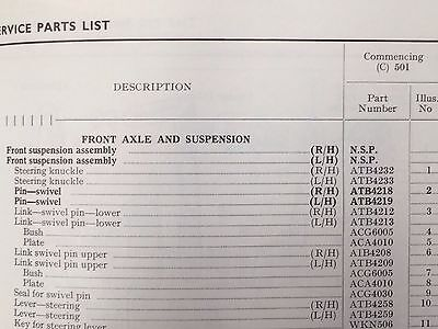 Service Parts manual for the MGA Twin Cam