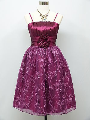 Cherlone Satin Purple Prom Cocktail Party Formal Ball Bridesmaid Dress 14-16